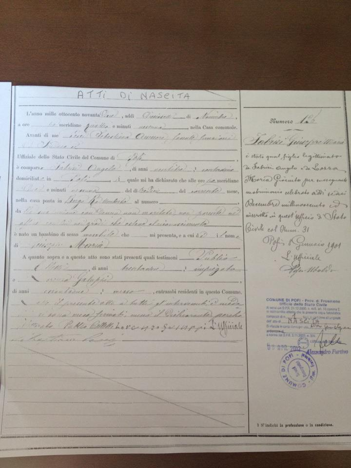 Finding My Ancestors: My Great Grandfathers birth certificate in Pofi Italy