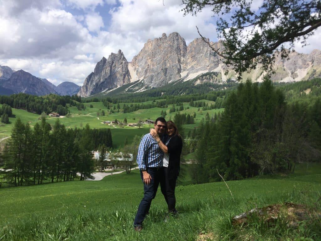 Kevin and I in the Dolomites near Cortina d'Ampezzo Ski Resort, Cortina d'Ampezzo, Italy
