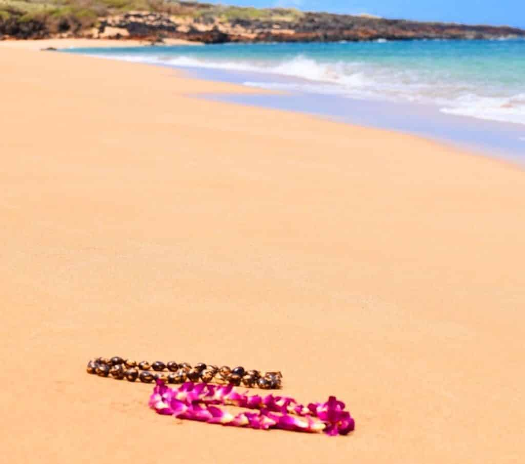 Polihua Beach with our beautiful lei's from the Four Seasons