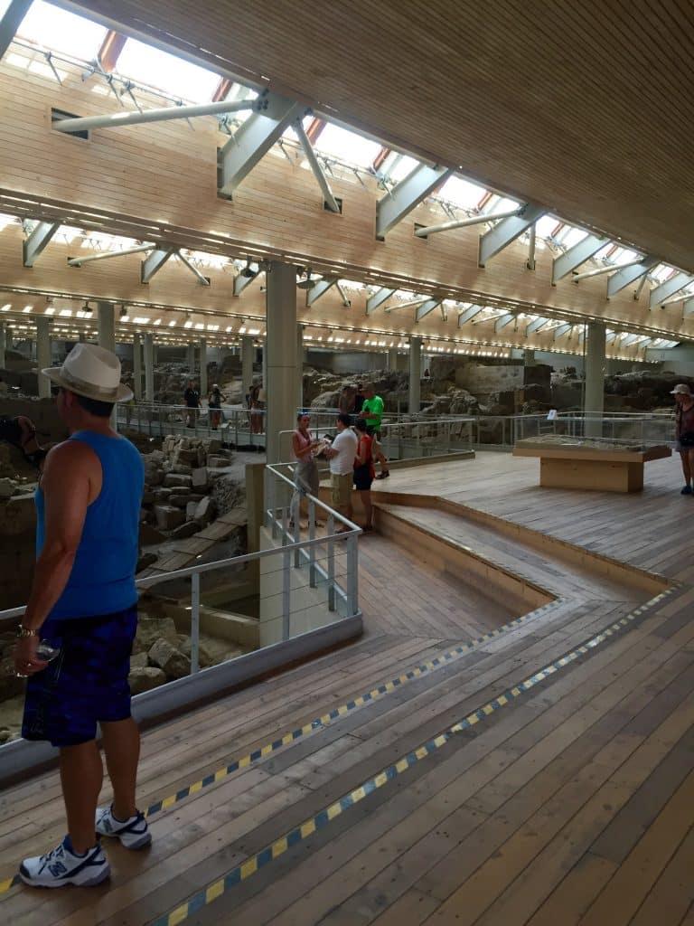 Inside Akrotiri Archeological site an Aegean prehistoric settlement