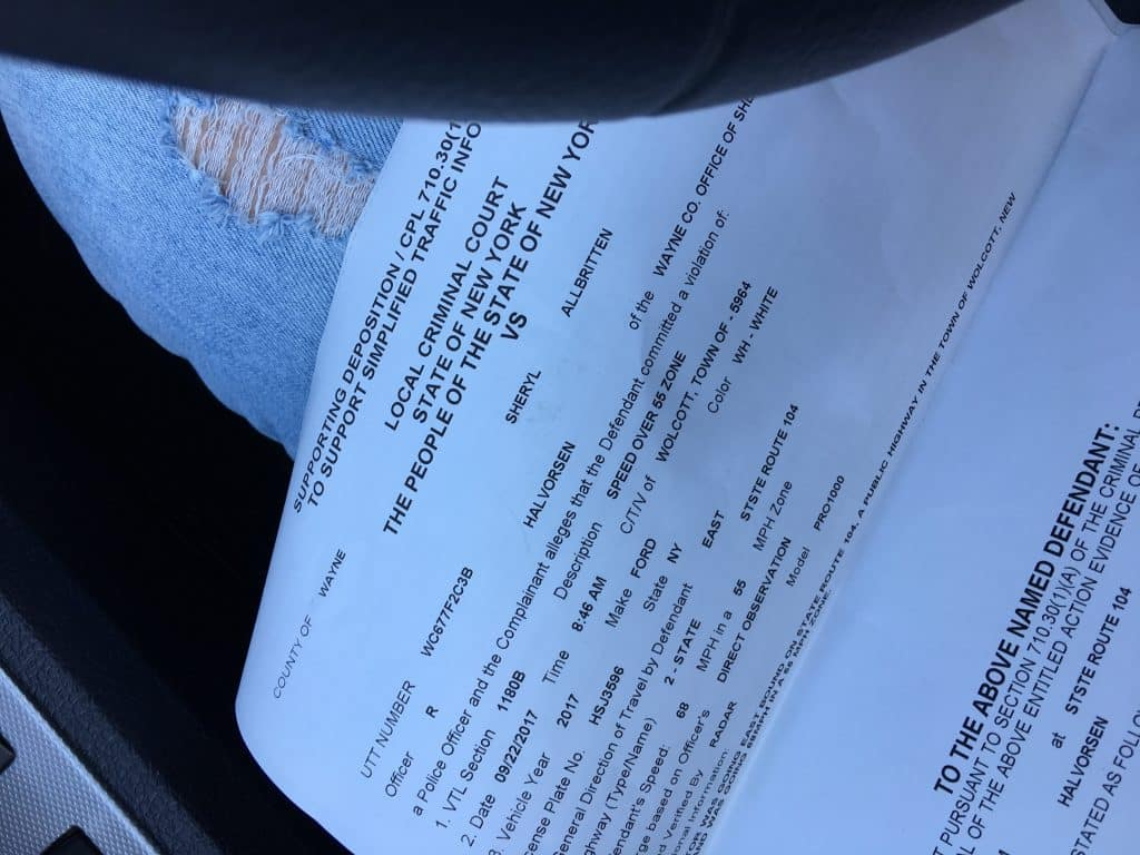 Speeding ticket on way to Quebec