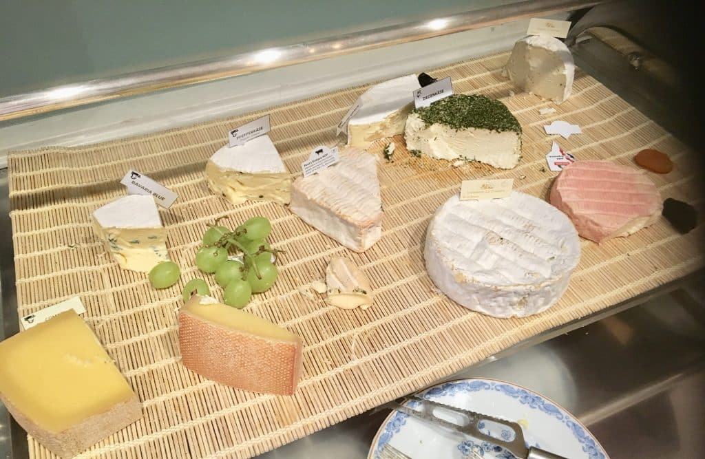 Tray with cheeses and grapes for breakfast at Brenners Park-Hotel & Spa