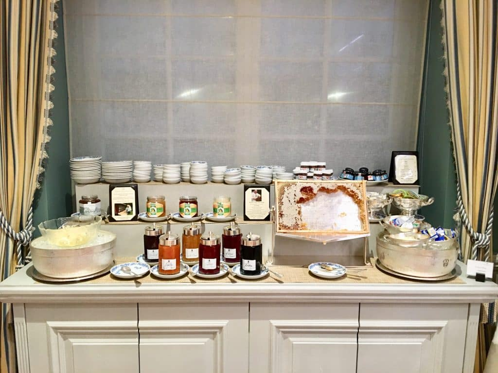 The honey and jelly table for breakfast at Brenners Park-Hotel & Spa