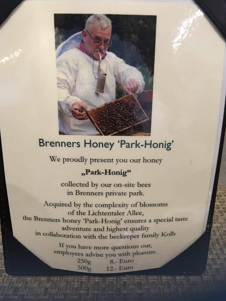 Park-Honig- Brenners Park-Hotel & Spa honey; sign with prices and description about their honey