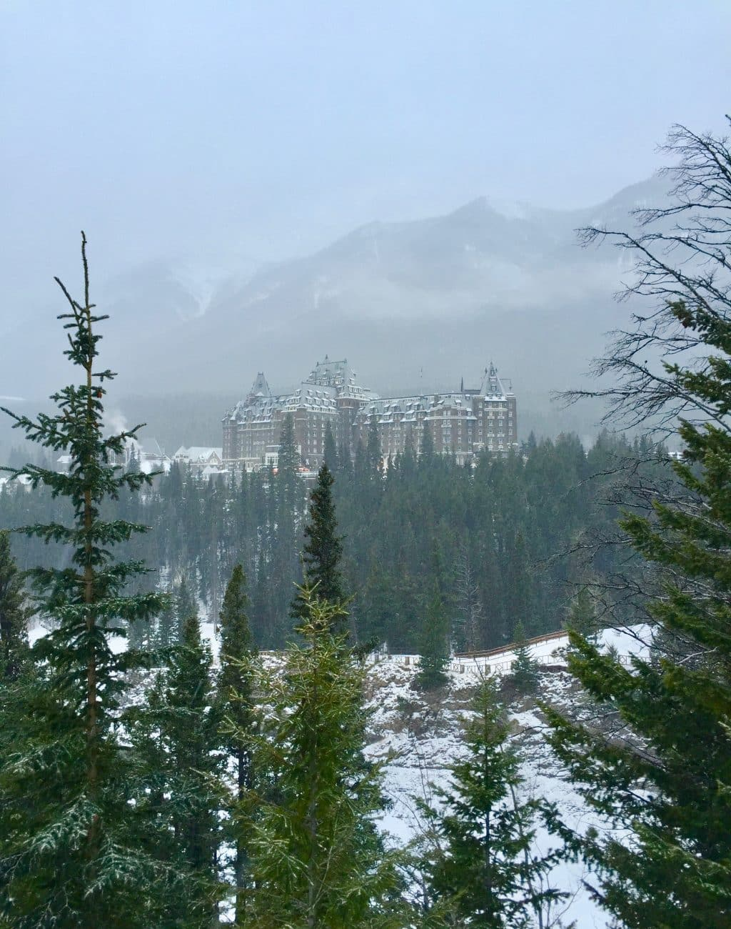 Fairmont Banff Springs in the distance with mountains