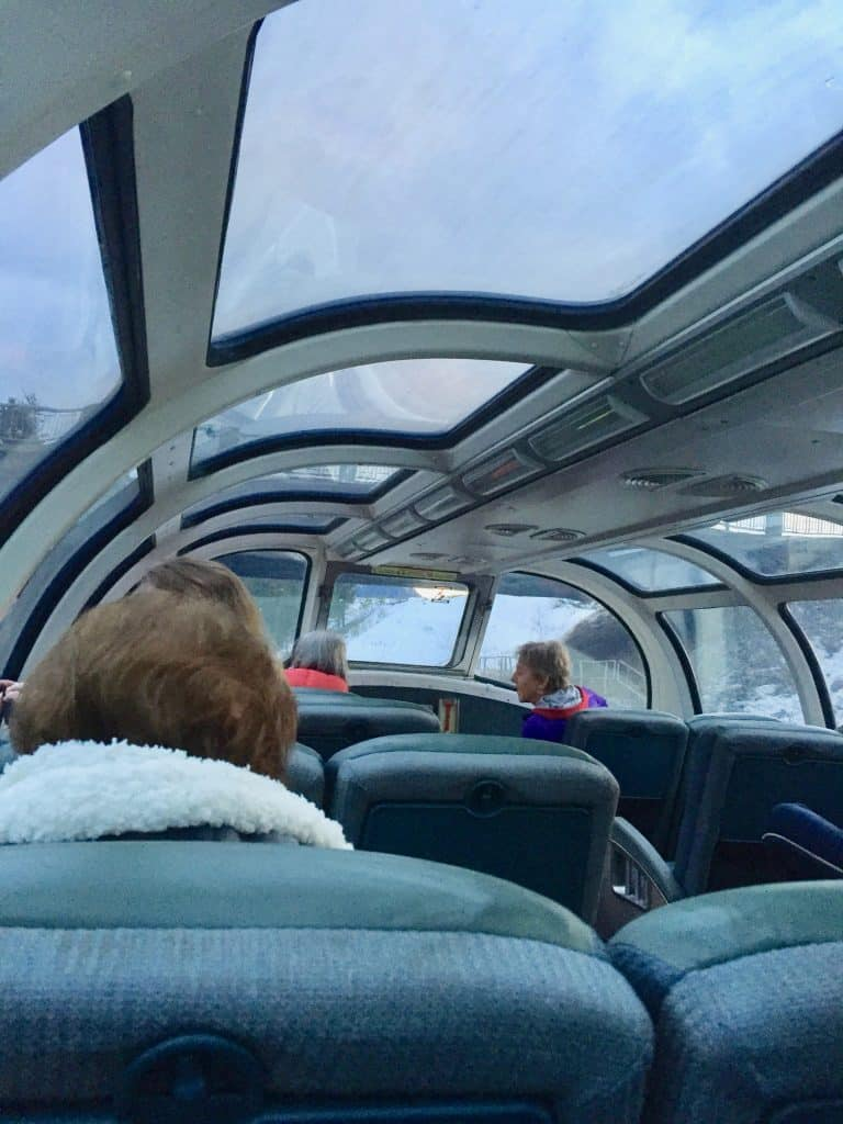 observation deck on train