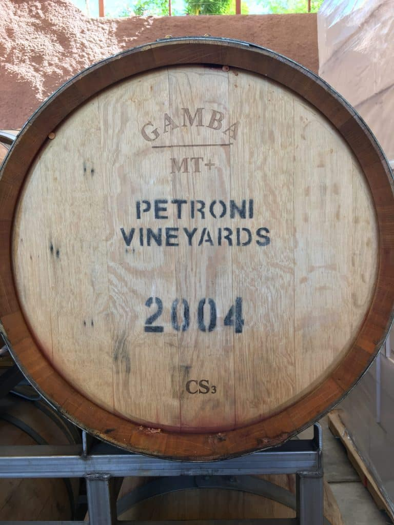 Petroni Vineyards wine barrel