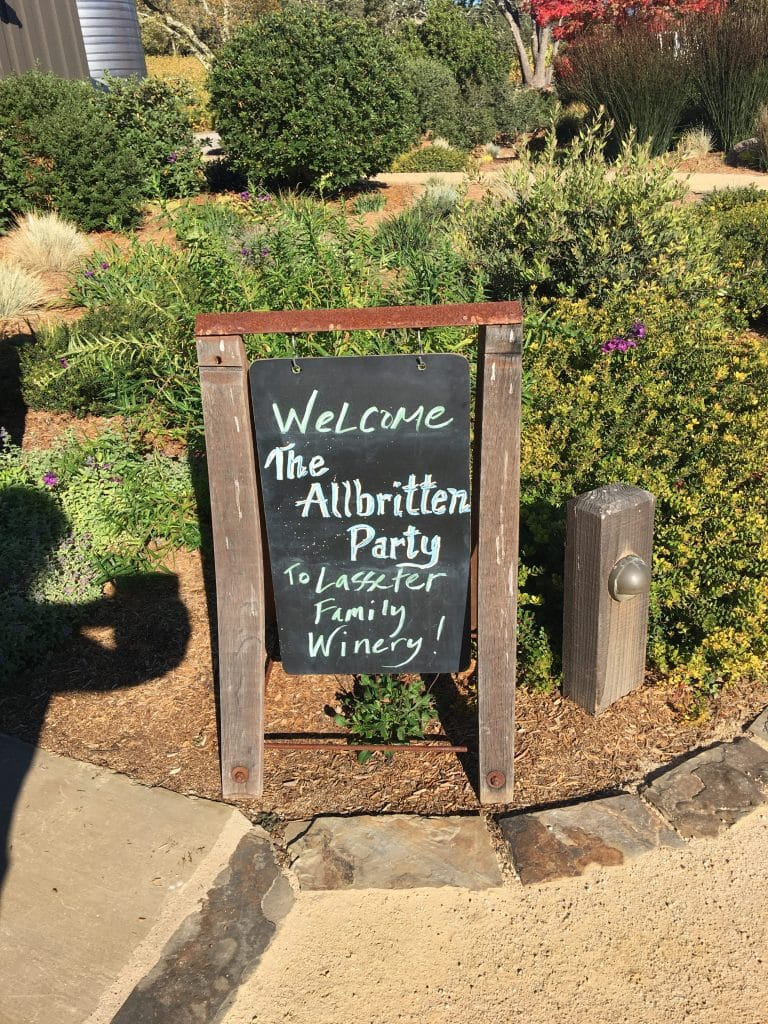 The welcome sign at Lassiter Winery