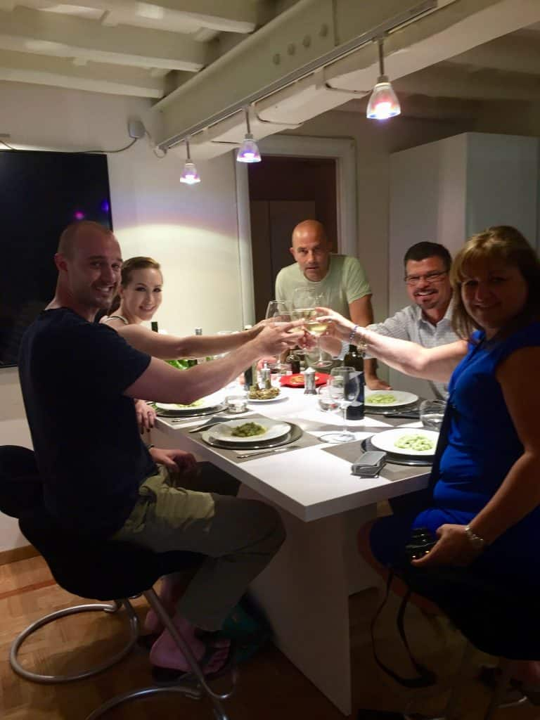 Toasting to our food we cooked with Chef Fabio Bongianni
