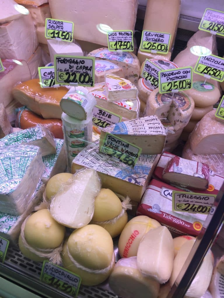 selection of many cheeses in Rome market