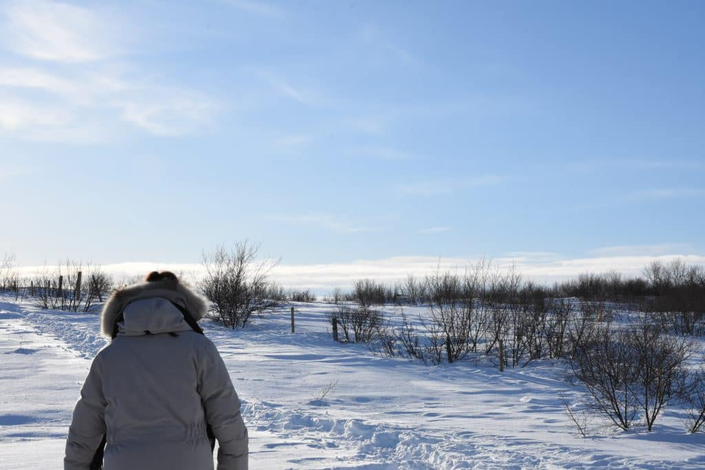 walking in snow to Bruarfoss falls Iceland