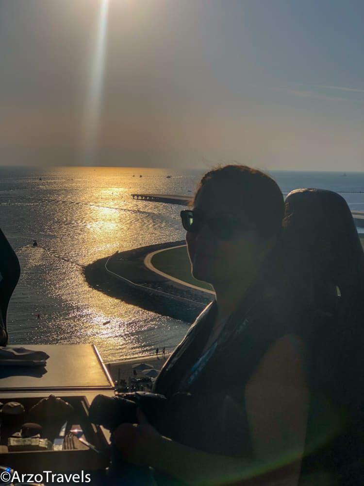 Adventure Travel: Adventure Seeker having Dinner in the Sky in Dubai