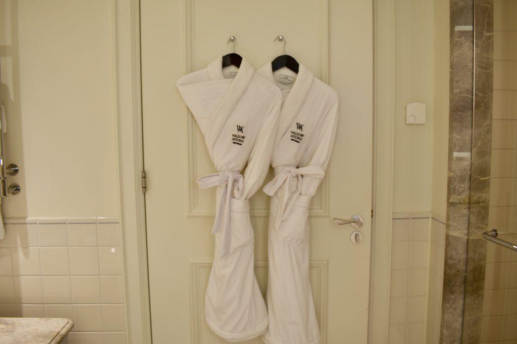 Comfortable robes await at the Waldorf Astoria Amsterdam
