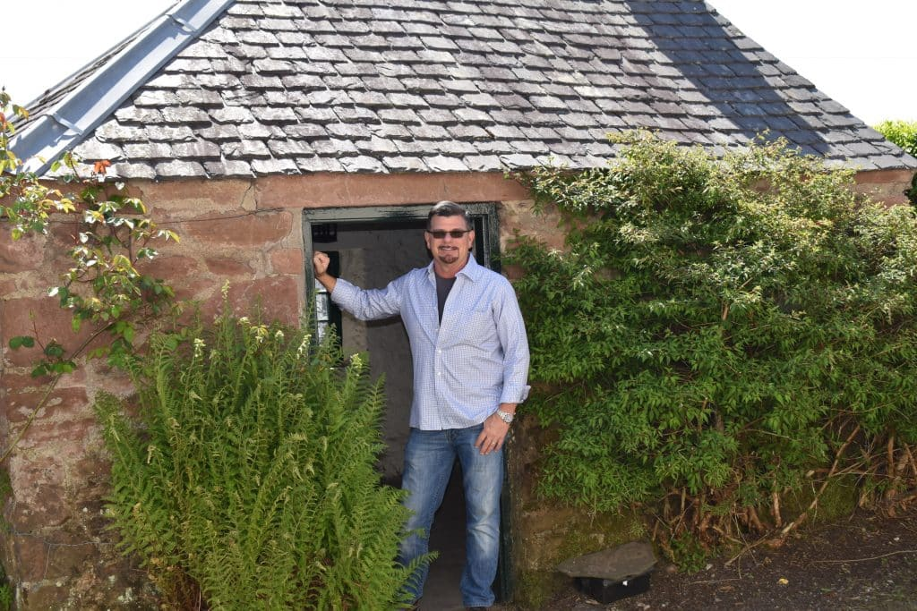 The childhood home of novelist J.M. Barrie in Kirriemuir Scotland. The washhouse where plays were performed