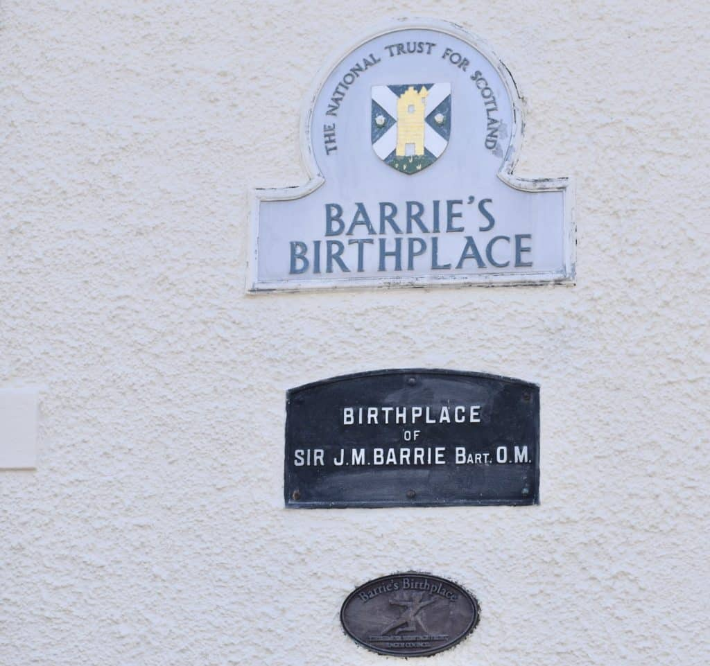 Plaque on wall at the Peter Pan Novelist, J.M. Barrie: Childhood home, Kirriemuir Scotland.