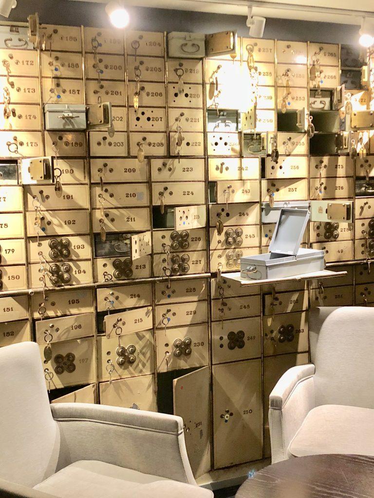 The Vault Bar at the Waldorf Astoria Amsterdam safe deposit room