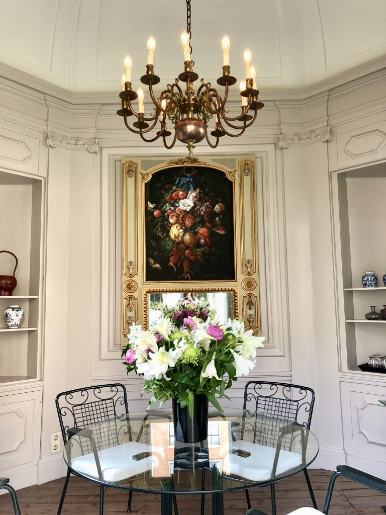Small dining area in the Beautiful garden of the Waldorf Astoria Amsterdam