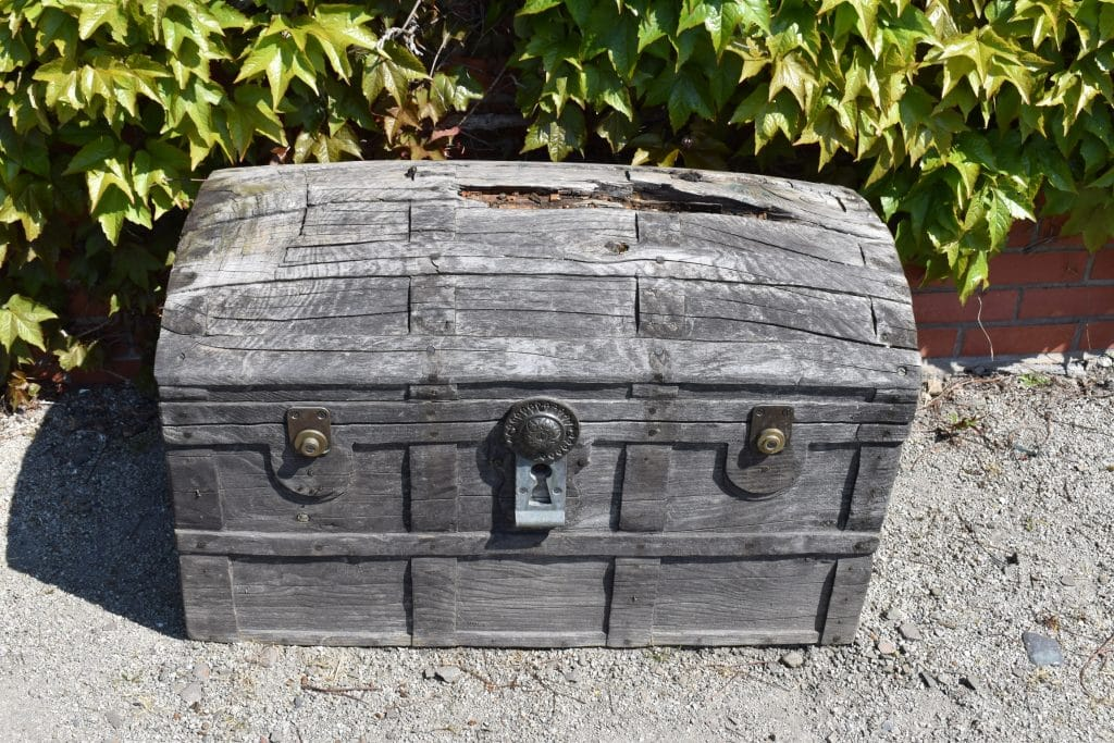 Storage chest in the garden of Peter Pan Novelist, J.M. Barrie: Childhood home, Kirriemuir Scotland. Garden area