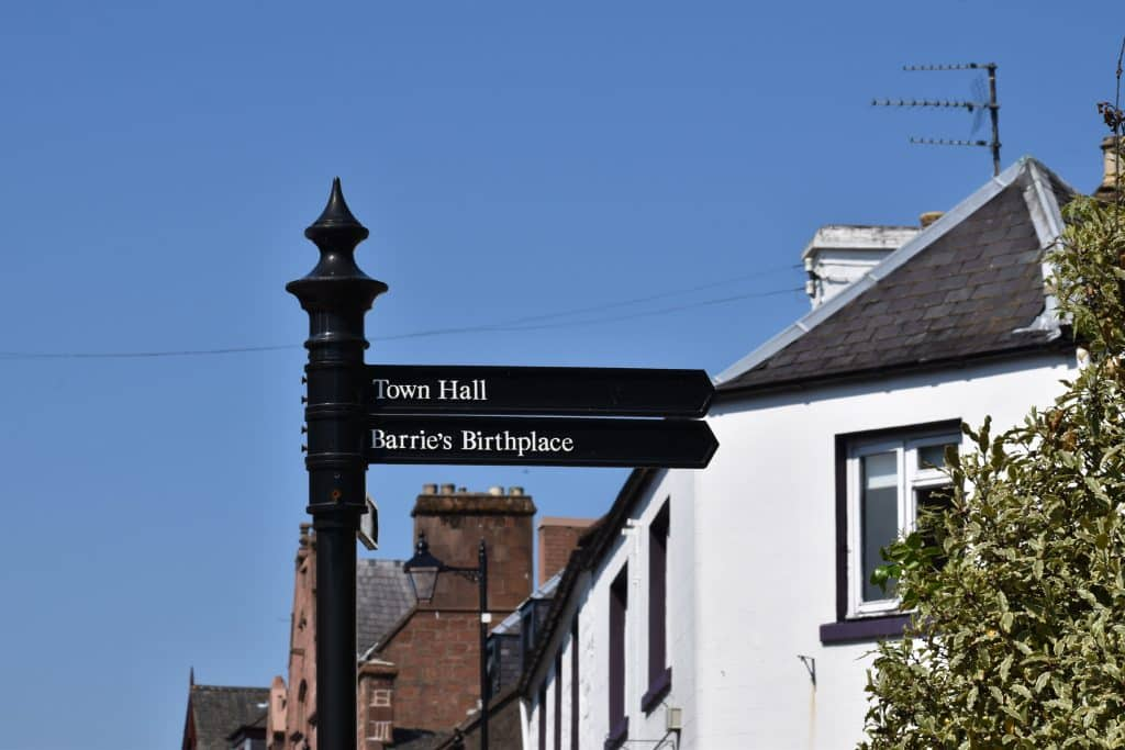 Peter Pan Novelist, J.M. Barrie: Childhood home, Kirriemuir Scotland street sign