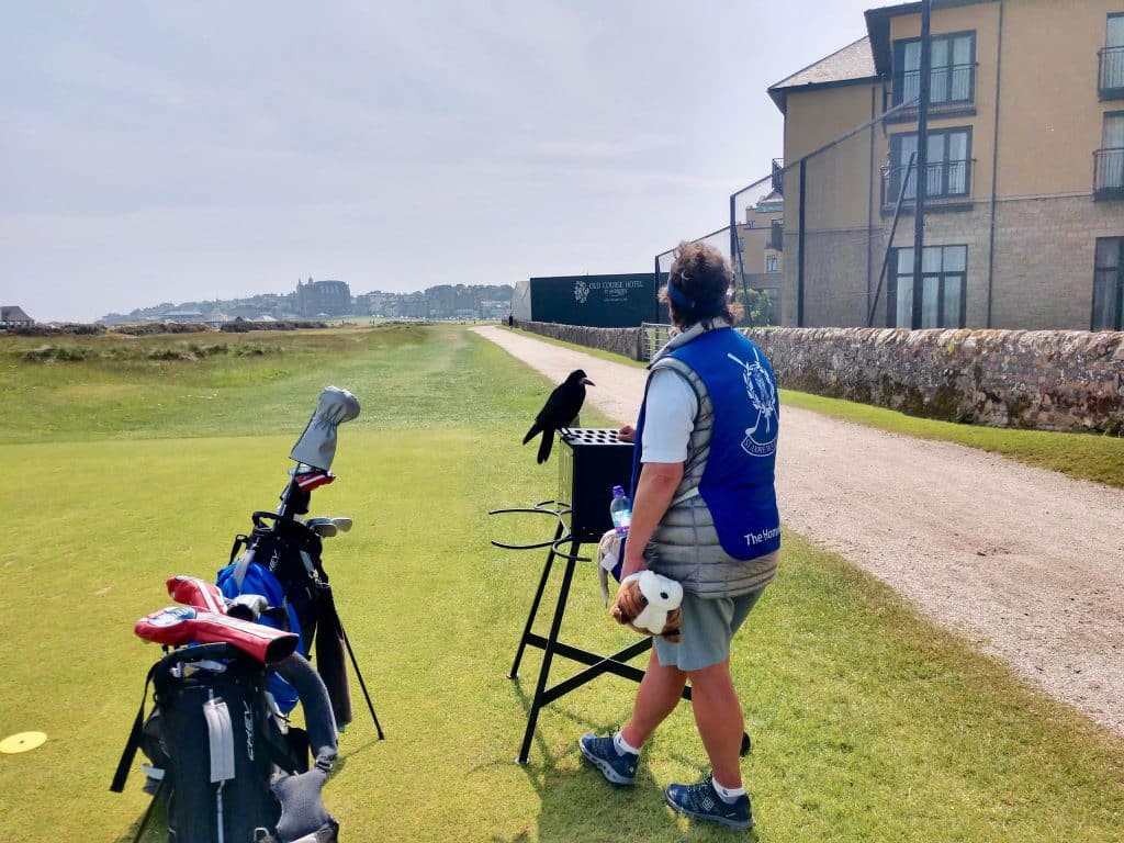 Caddie at the old course at St. Andrews Scotland