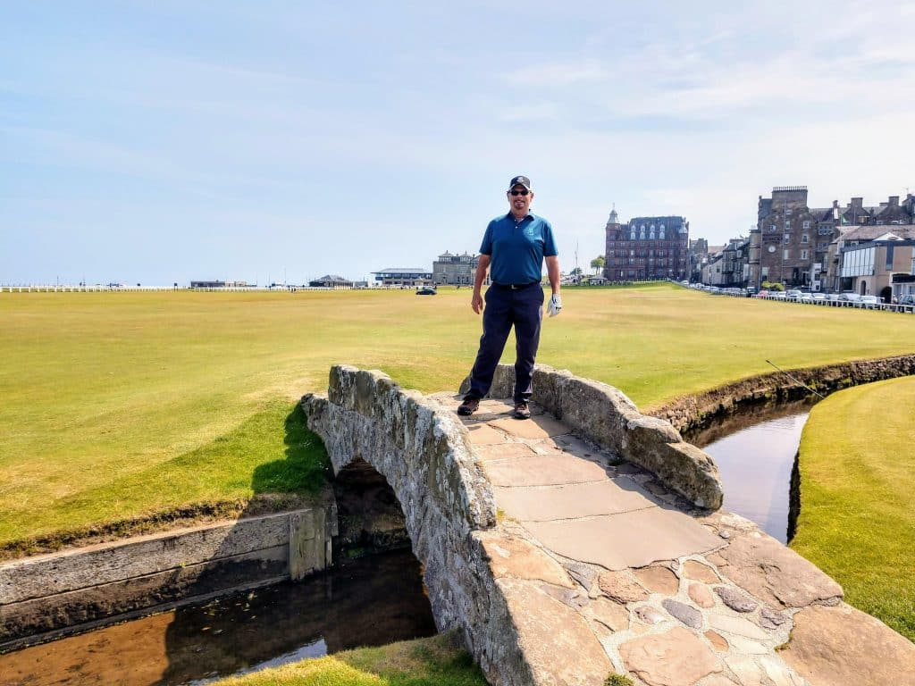 The famous Swilken bridge at the Old course St. Andrews