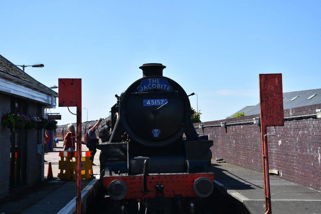 Impressive steam train the Jacobite at Mallaig station