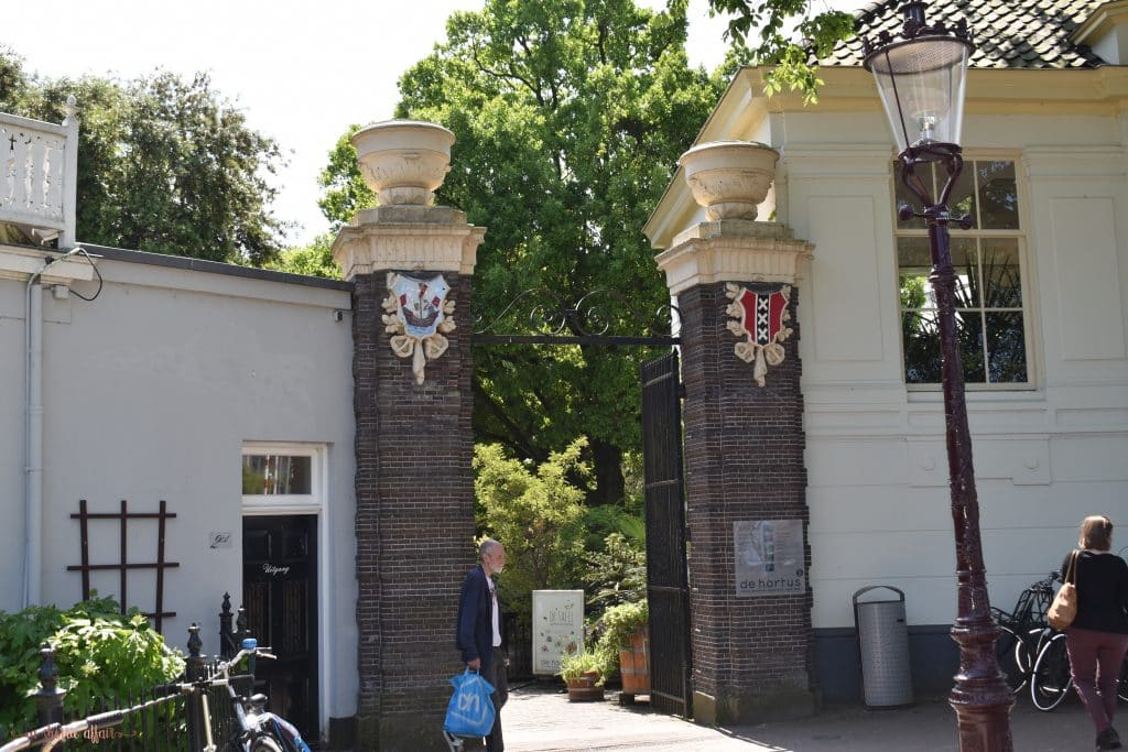 entry way to the Botanical gardens in Amsterdam