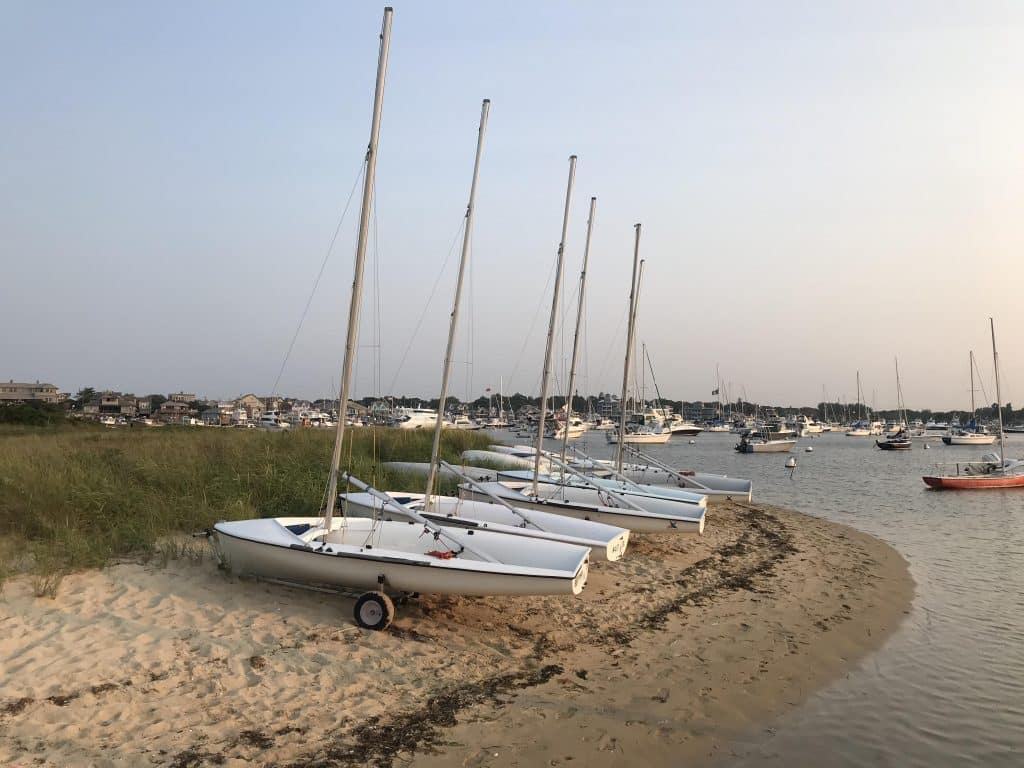 Sailboats at Marthas Vineyard beach