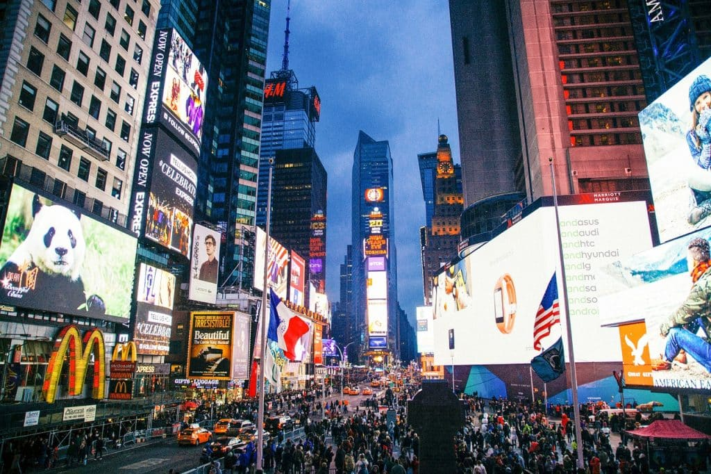 New York city street at night with lights