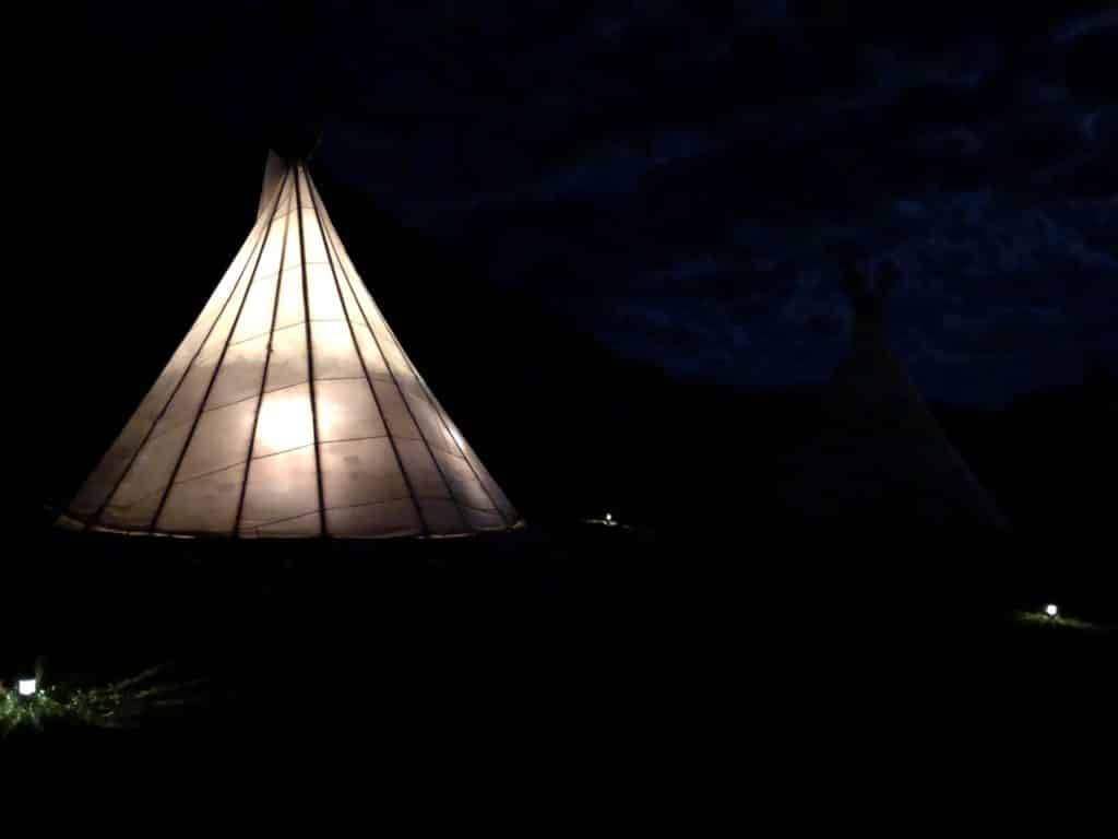 Night time at the Tipi's